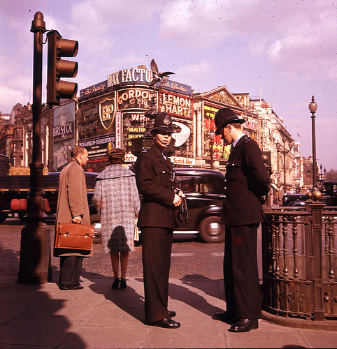 Bobbies in London Piccadilly Circus 1966