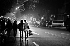 [177/365]: the waiting game.[Explored] (A. adnan) Tags: guangzhou china road street blackandwhite bw night nikon women waiting streetphotography 365 tamron f28 project365 d5000