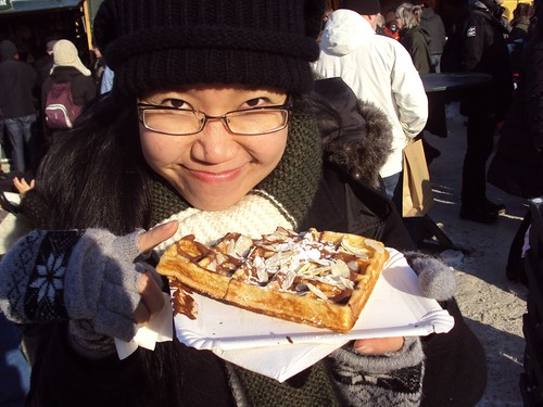 That's Zannnie trying the Waffeln