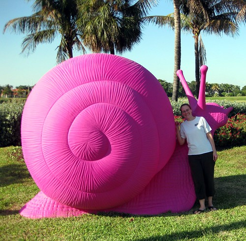How often do I get to pose with a giant pink snail?