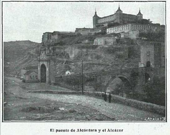 Puente de Alcántara y Alcázar. Fotografía de Kurt Hielscher publicada en La Esfera en junio de 1916