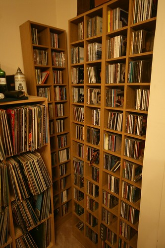 The CD collection; in the new racks.