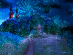 New Year Celebration .Anyksciai. Lithuania (Nellie Vin) Tags: blue trees snow church photography fineart hill lithuania newyearcelebration psychedelicart anyksciai nellievin brightcontrastingcolors