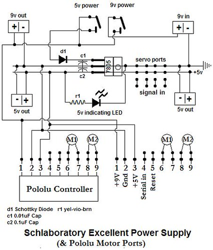 Power supply  and pololu schematic
