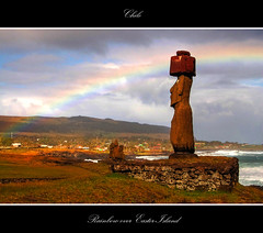 Rainbow over Easter Island (msdstefan) Tags: pictures ocean chile trip travel vacation sky panorama sculpture sun holiday sol praia beach stone strand landscape island polynesia coast soleil rainbow sand pics urlaub himmel skulptur best insel landschaft sonne stein moai easterisland plage rtw isla spiaggia nicest regenbogen kste ozean osterinsel polynesien landschaftsbild bestcapturesaoi tripleniceshot mygearandmepremium mygearandmebronze mygearandmesilver mygearandmegold mygearandmeplatinum mygearandmediamond dblringexcellence tplringexcellence aboveandbeyondlevel1 aboveandbeyondlevel2