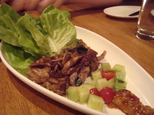 Duck confit lettuce wraps, cucumber salad, banana tamarind sauce @ Traif