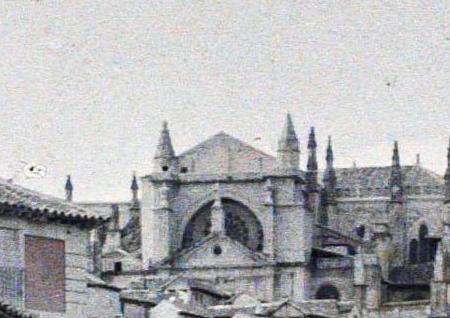 Tejados en obras de la Catedral de Toledo entre el 15 y el 17 de junio de 1914. Autocromo de Auguste Léon (detalle). © Musée Albert-Kahn - Département des Hauts-de-Seine