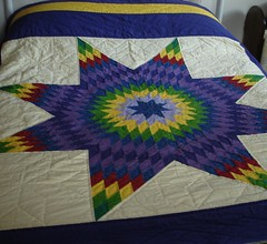 Lone Star Quilt (Kara J Quilts) Tags: blue red green yellow purple quilt lonestar bedquilt lonestarquilt