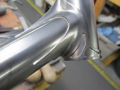 after brazing (bishopbikes) Tags: wood columbus phil custom hubs dropout rohloff slx