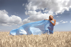 breath of wind (Pecherskiy Konstantin/) Tags: blue summer sky woman cloud sun white art nature beautiful beauty field fashion rural hair naked outdoors one freedom model energy day wind wheat joy young happiness textile crop cheerful relaxation lifestyles  vitality