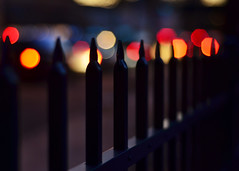 Deep City Lights.... (eRachel11) Tags: city fence lights nikon colorful dof bokeh alabama fencing 50mm18 d7000 nikond7000 happyfencefriday forrestparkal ihavetodayoffofworkthebestfeelingever