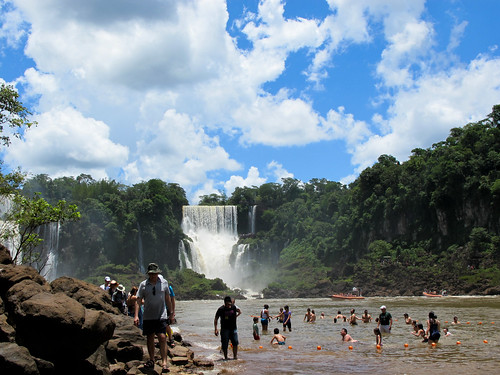 Swimming at the Foot - Iguazu Falls, Argentina