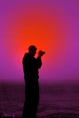 the highest photographer, touching the sun (Harlory) Tags: sunset silhouette fog photographer craiova slatina