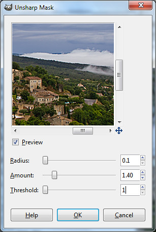 Unsharp Mask dialog box in GIMP