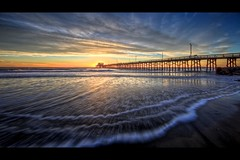 triple wave (Eric 5D Mark III) Tags: california sunset sky usa cloud seascape color reflection beach canon landscape pier twilight unitedstates perspective wave wideangle newportbeach orangecounty tone lowangle ef14mmf28liiusm eos5dmarkii