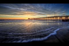 triple wave (Eric 5D Mark III) Tags: california sunset sky usa cloud seascape color reflection beach canon landscape pier twilight unitedstates perspective wave wideangle newportbeach orangecounty tone lowangle ef14mmf28liiusm eos5dmarkii