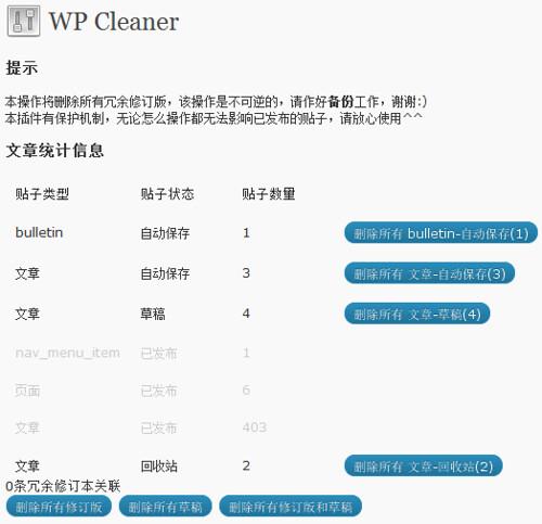 两个清除WordPress自动保存,修订版的插件