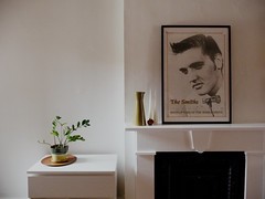 dining room, winter 2011 (Anna @ D16) Tags: white black poster fireplace elvis diningroom myhouse thesmiths mantel shoplifters