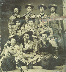 Victorian Women Tintype (newmexico51) Tags: old vintage mujer women antique femme group victorian hats clothes baskets tintype ferrotype shotgun damaged