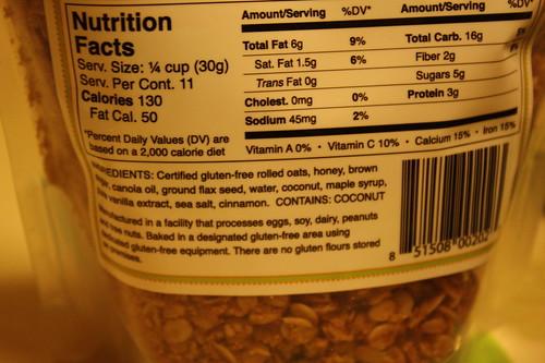 Jessica's gluten free granola nutrition