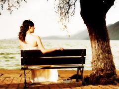 Wating (Fotokon KiKi) Tags: wedding sea woman sun tree girl female backlight gold seaside model chair warm soft lan sit kunming yunnan      wate aesthetic  wating                 haigengpart