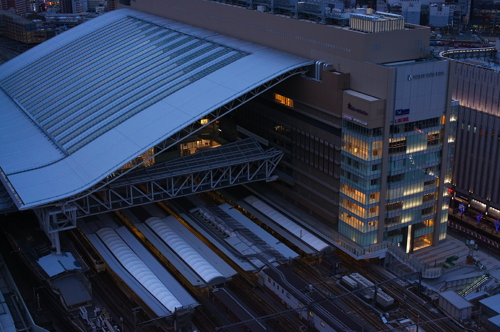 Brand-new Osaka Station at dusk