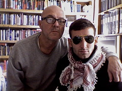 WITH AARON IN THE STUDIO, 7 JAN. 11 (louisbickett) Tags: boy portrait selfportrait men autoportrait lexington ky books groupportrait archivelouiszoellarbickett louiszoellarbickett aaronmichaelskolnick