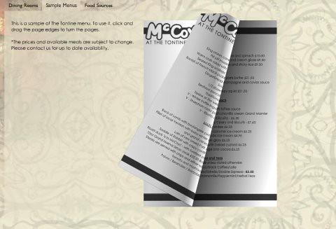 Restaurant website menu