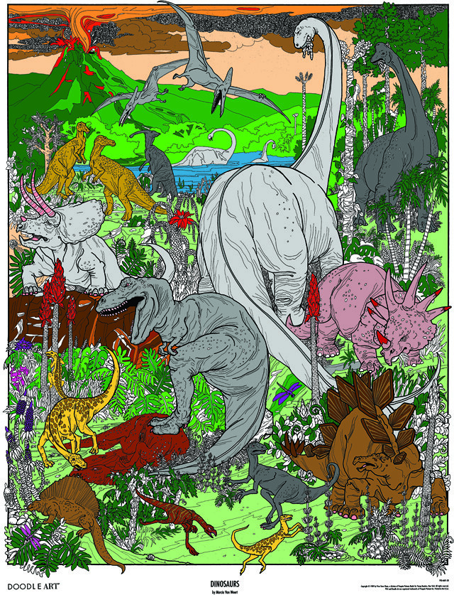 Doodle Art Dinosaurs Coloring Page Poster