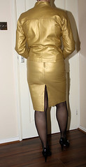 gold tight leather skirt & jacket (sheerglamour) Tags: leather fetish belt tv mac skirt plastic satin pvc pleated governess