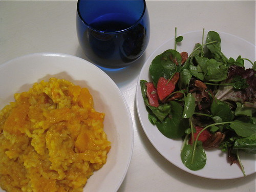 Butternut Squash Risotto and Mixed Green Salad with Grapefruit Vinaigrette