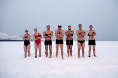 brighton swimming club members (lomokev) Tags: winter sea portrait snow man cold male beach girl lady female person pier brighton human lindy brightonpier palacepier swimmingclub deletetag lindydunlop snowyswimdec2010 file:name=101202eos5d9888 posted:to=tumblr