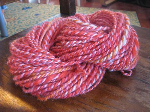 Hand-dyed and spun yarn