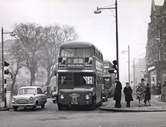9886785 (uk_senator) Tags: pictures road street old urban bus green london history 1955 station century high working prototype historical routemaster 1956 20th unidentified evaluation golders rm1 northendroad slt56 uksenator