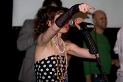 Amanda Marcotte at WAM! Radical Eighties Prom (Lindsay Beyerstein) Tags: nyc friends party woman newyork color 20d fashion les vintage fun freedom justice dance costume women media dj manhattan live mashup blogger retro event prom 80s feminism nightlife eighties 1980s feminist gender wam womenactionandmedia wamnyc