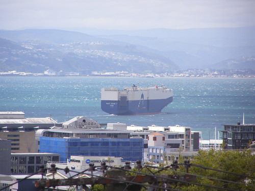 Car carrier Trans Future 7 in Wellington Harbour on a windy day