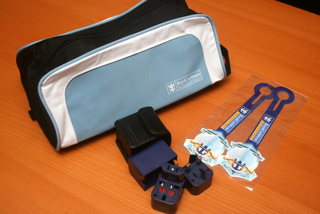 We were also given Royal Caribbean shoe bag, travel adaptor and luggage tags
