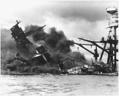 Naval photograph documenting the Japanese attack on Pearl Harbor, Hawaii which initiated US participation in World War II. Navy's caption: The battleship USS ARIZONA sinking after being hit by Japanese air attack on Dec. 7,1941., 12/07/1941 (The U.S. National Archives) Tags: ocean water hawaii harbor war ship oahu smoke attack dramatic pacificocean pearlharbor battleship usnavy usn sinking warship ussarizona unitedstatesnavy ussarizonamemorial december71941 ussarizonabb39 bb39 pennsylvaniaclass usnationalarchives nara:arcid=295977