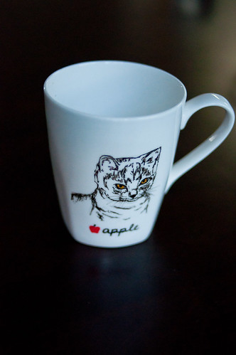 apple the cat mug