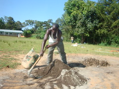 Busyubi Primary school-mixing of concrete during construction phase