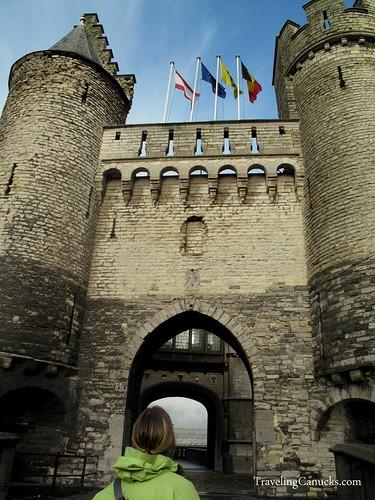 Nicole in front of Steen Castle, Antwerp, Belgium (1)