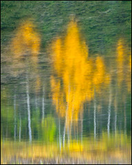 Painted Reflections (Mike Isaak) Tags: longexposure blue autumn trees sun lake canada painterly abstract mountains green mike nature water clouds reflections landscape kananaskis photography nikon painted fineart lakes naturallight alberta rockymountains isaak waterscape abstractphotography d300s