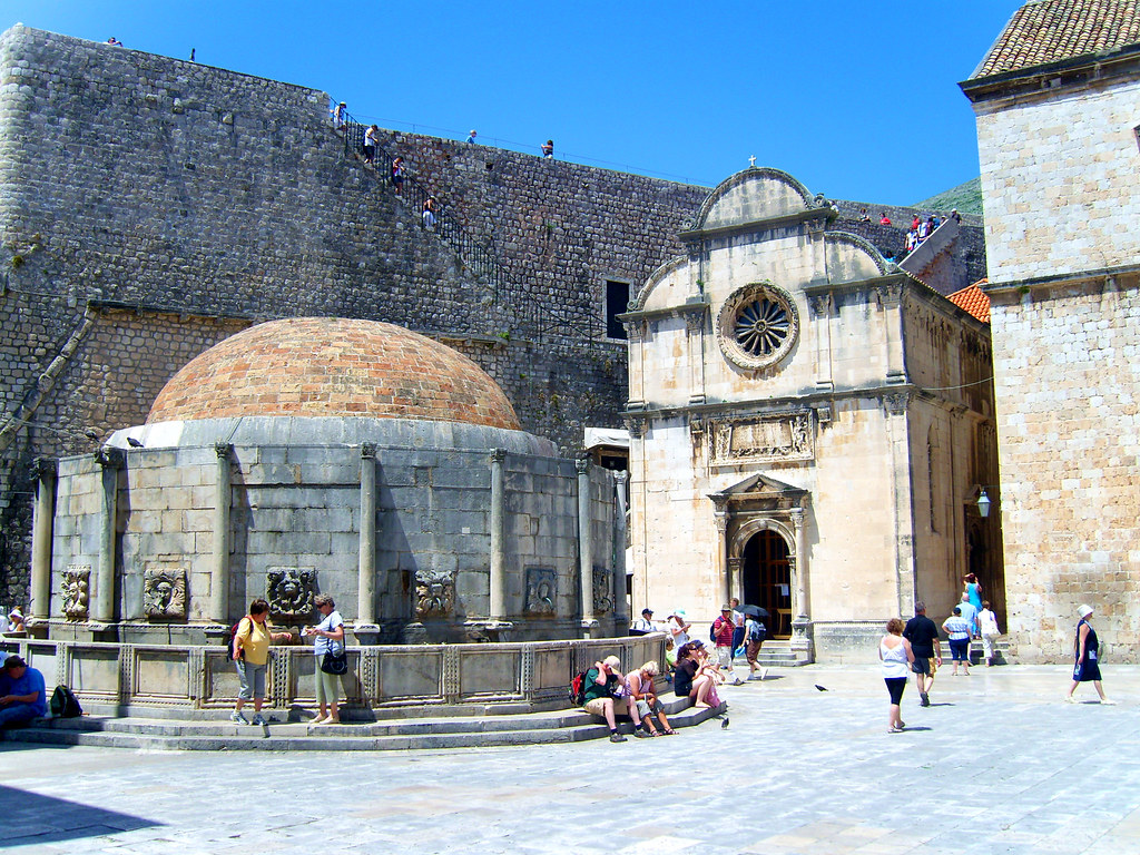 247 Walkin'Streets of Dubrovnik Onofrio's Fountain (1438) located right to Pile gate designed by Onofrio della Cava from Naples & St. Saviour's Church (1520-1528)