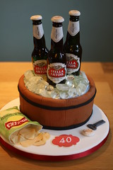 """Beer bottles"" celebration cake - with sugar beer bottles (Cakes by No More Tiers (York)) Tags: stella ice beer barrel crisps icecubes stellaartois keg beerbottles fondant gumpaste cakedecorating noveltycake flowerpaste menscakes sugarbeerbottle nomoretiers cakesyork fionabrookcakes"