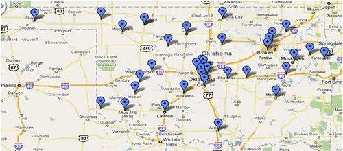 Oklahoma Food Co-op's distribution range