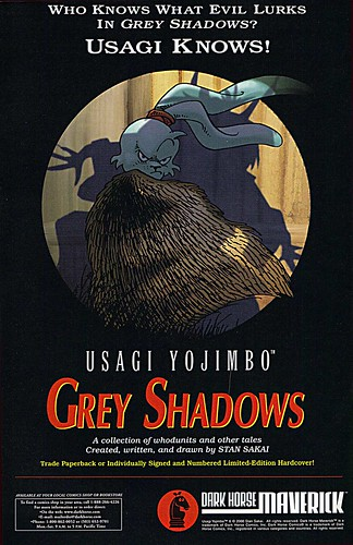 "Usagi Yojimbo :: ""WHO KNOWS WHAT EVIL LURKS IN GREY SHADOWS ? "" - TPB spot ad (( 2000 ))"