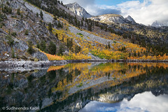 Lake Sabrina, Fall Reflection, California (Sudheendra Kadri) Tags: california orange reflection fall nature water colorful fallcolor aspen sierranevada bishop sudhi landscapephotography fallseason lakesabrina sudheendrakadri