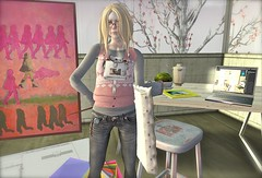 ...pink Mia's Dad's painting... (lindini2) Tags: home glasses sweater sl secondlife vest plod dpyumyum neckporch alphavillain miasdadspainting