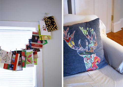 cards hung, pillow