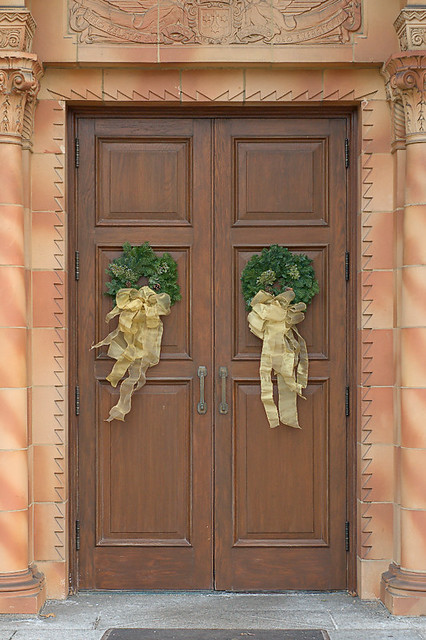 Discalced Carmelite Monastery, in Ladue, Missouri, USA - door with Christmas wreathes